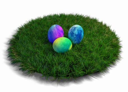 Three brightly colored hand painted Easter eggs on a round patch of green grass over white to celebrate the festive season. 3d Rendering.
