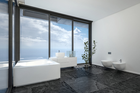 penthouse: Hotel or penthouse bathroom in minimalist interior design with black floor, white walls and ceiling and huge panoramic view windows. 3d rendering. Stock Photo