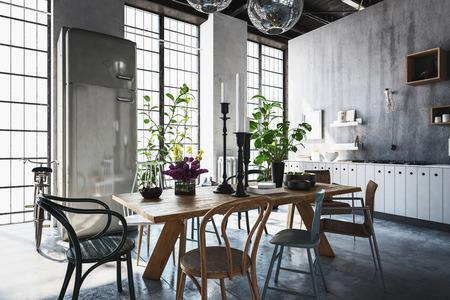 Eetkamer met tafels, stoelen en kamerplanten in ruime, moderne gerenoveerde woning met lichtstraal van ramen Stockfoto