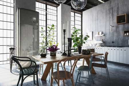 Dining room with tables, chairs and houseplants in spacious modern renovated home with light streaming from windows