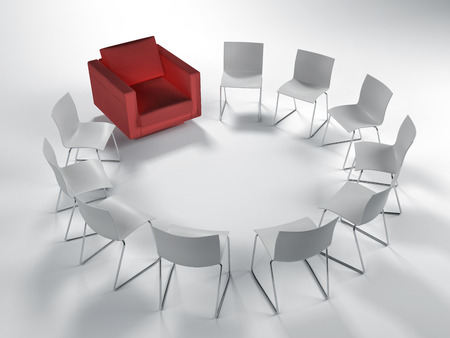 white achievement: Circle of white modular chairs with a single red armchair viewed high angle on white in a concept of leadership, achievement and individuality. 3d rendering.