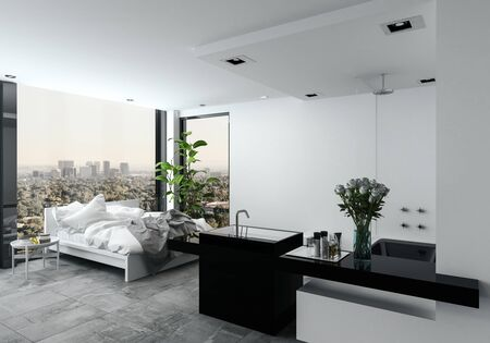 flower bed: Open plan modern bedroom bathroom in a studio with a messy unmade bed in front of view windows overlooking a cityscape, 3d render Stock Photo