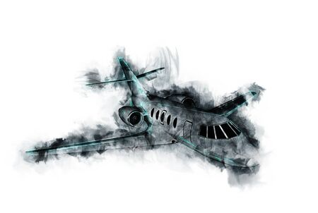 Impressionistic Interpretation of Small Commuter Airplane in Flight Portrayed at Graphite Line Drawing with Blue Highlights on White Background Stock Photo