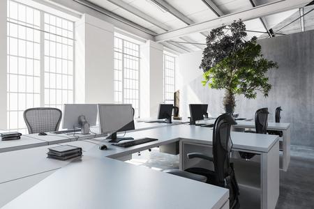Goed verlicht kantoor in witte en grijze tinten met meerdere werkplekken en groene boom tegen cementmuur. 3D-rendering. Stockfoto