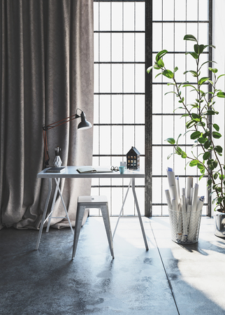 Desk and stool in stylish modern apartment next to window with houseplant Stockfoto