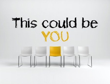 could: This could be you employment or achievement concept with hand written text above a single yellow chair in a line of white ones over a white background. 3d rendering.