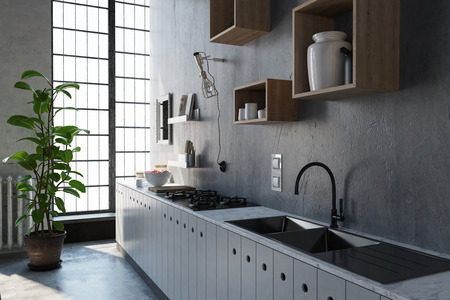 kitchenette: 3D rendered scene with large kitchen sink and cabinet. Light coming through window with frosted panes.