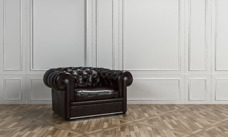 leather armchair: Large black leather armchair with button back in a classical living room interior with white wood paneling on the walls and patterned parquet floor. 3d Rendering.