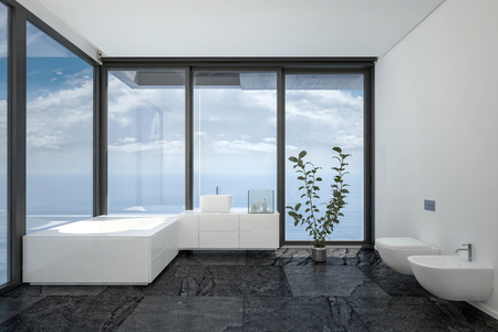 penthouse: Bathroom of hotel room or penthouse in minimalist interior black and white design with floor-to-ceiling panoramic windows and indoor plant. 3d rendering.