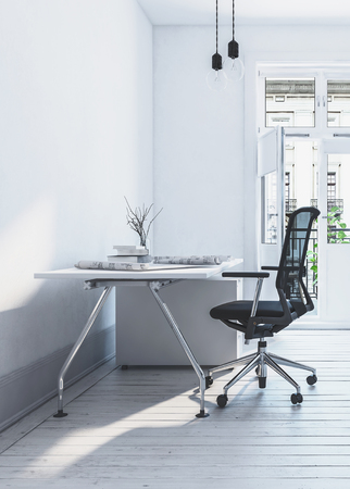empty office: 3D rendered office chair in front of flat, slightly cluttered modern desk in airy simple white room
