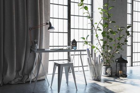 3D scéna malého stolu s závěsy u okna. Za ním ležely papíry a rostliny.