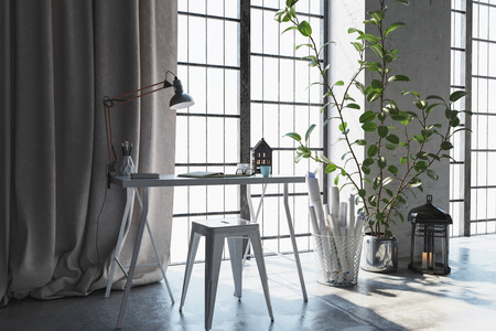 Escena 3D de un pequeño escritorio con cortinas cerca de la ventana. Rolados papeles y plantas yacían al lado.