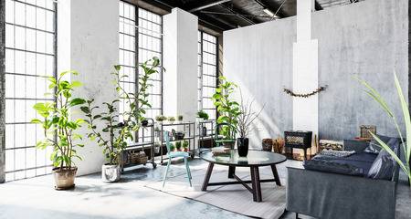 Room with huge light windows, green plants, sofa and coffee table in grey minimalist interior of office building. 3d Rendering. Stock Photo