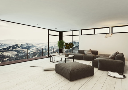 lounge room: View of spacious room in hotel or penthouse with minimalist interior design and huge panoramic windows with winter mountains outside. 3d rendering. Stock Photo