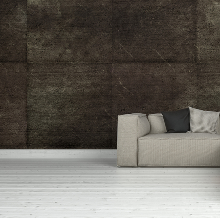 cushions: Sofa of light fabric with cushions on white wooden floor near dark brown tiled wall with copy space. 3d Rendering. Stock Photo