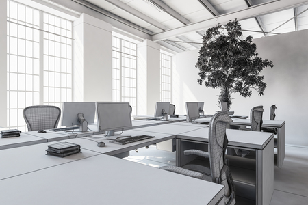 wooden floors: Empty modern office room with minimalist interior in grey and white tones, bright space concept. 3d Rendering.