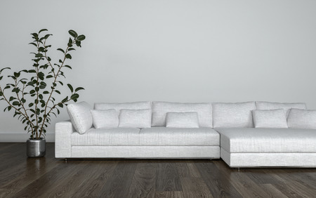 living room wall: Large multi seat white modular couch with cushions on a wooden parquet floor alongside a potted plant, living room interior. 3d Rendering. Stock Photo