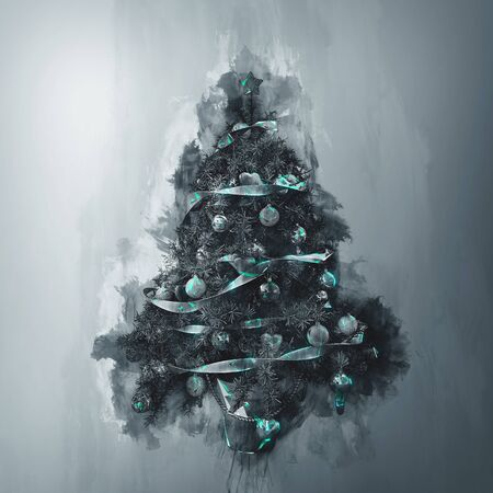 homely: Picture of dark greyscale decorated crhristmas tree with balls and ribbons painted with green over grey background