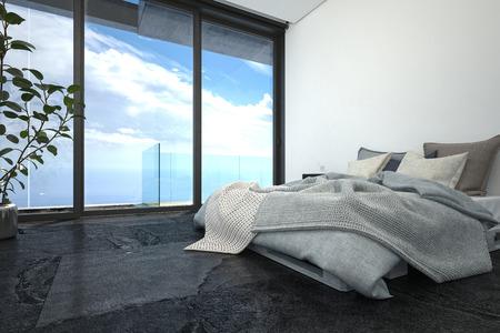 Hotel oder penthouse schlafzimmer in minimalistische interieur
