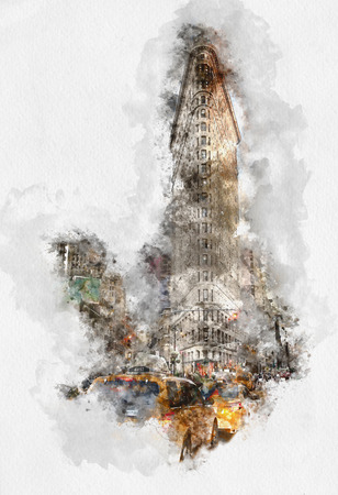 Artistic sketch of the Flatiron building NY with water color paint effect and iconic yellow taxi cabs in the foreground in a travel postcard or poster Stock Photo