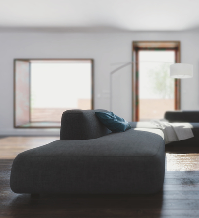 daybed: Room with long sofa on dark floor, white ceiling and walls with big deep window and opened door in background soft focus. 3d Rendering.