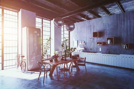 living style: Interior of spacious modern apartment with dining table, chairs and bicycle leaning by tall windows with sun flare