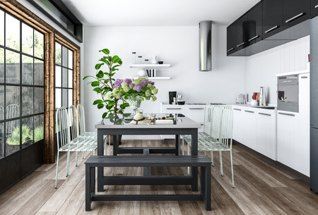 Bright kitchen in white and black minimalist interior design with dining table decorated with indoor plants, near huge windows