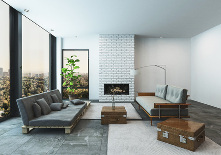 Stylish modern living room in a condo or penthouse apartment with large low slung sofas with suitcase accents in a spacious bright room with floor to ceiling view windows overlooking a city, 3d render