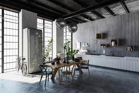 Interieur van ruime en moderne appartement met een eettafel, stoelen en fietsen scheve door hoge ramen