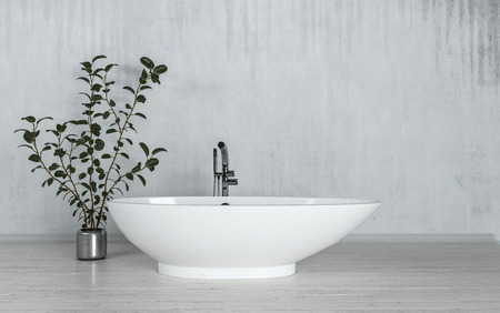 modern apartment: Modern freestanding boat-shaped bathtub with potted plant in a converted loft apartment with grey streaked concrete walls. 3d Rendering. Stock Photo