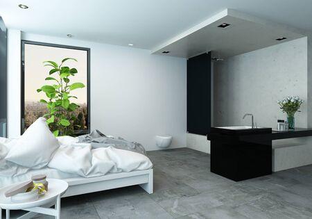 divan: Elegante dormitorio moderno estudio con sofá cama deshecha grande y un cuarto de aseo con accesorios elegantes, 3d Foto de archivo
