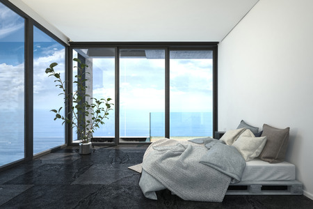 penthouse: Hotel or penthouse bedroom in minimalist interior design, with bed on wooden trays, white walls, black floor and blue sea behind panoramic floor-to-ceiling windows. 3d rendering. Stock Photo