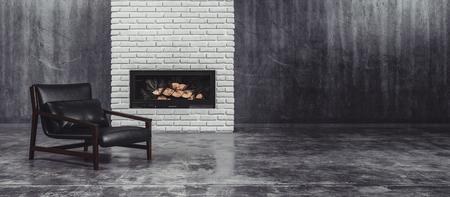 モダンな黒のレザーと火の前に金属製の椅子をタイル張りの床と灰色装飾されていない大きなリビング ルームの機能レンガ壁に挿入し、3 d レンダリ 写真素材