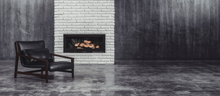 Modern black leather and metal chair in front of a fire insert in a feature brick wall in a large undecorated grey living room with tiled floor, 3d rendered panorama view