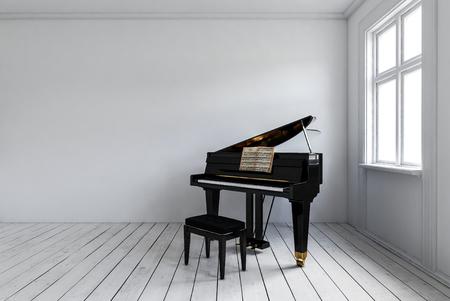 Sala blanca con piano negro con silla de pie en la esquina cerca de la ventana brillante. Diseño interior minimalista con espacio de copia. Representación 3D.