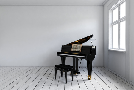 White room with black piano with chair standing in corner near bright window. Minimalist interior design with copy space. 3d rendering. Banque d'images