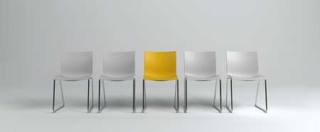 White empty chairs with one yellow in middle standing in row isolated on white background. Business hiring concept. 3d rendering Stock Photo