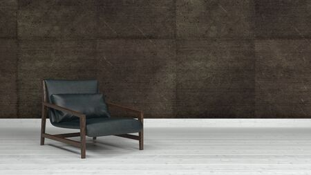 black floor: Black leather low lounge armchair standing on white wooden floor against dark brown tiled wall with copy space. 3d Rendering. Stock Photo