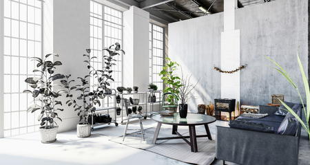 drab: Interior of stylish modern penthouse apartment with large windows, houseplants and partition wall Stock Photo