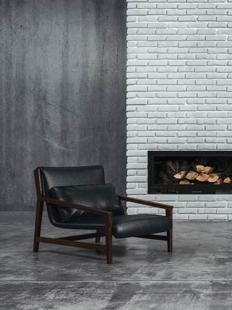 sombre: Sombre grey toned living room interior with black leather recliner chair and an unlit wood fire in the fireplace on a feature brick wall, 3d render