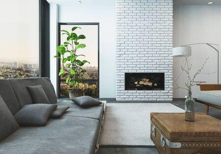 #70446796   Luxuriöses Wohnzimmer Von Stilvollen Hochhaus Moderne Wohnung  Mit Blick Auf Die Skyline Der Stadt