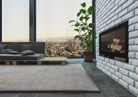 unlit: Modern upmarket living room interior with an unlit fire insert in a textured feature brick wall and sofa on a designer pallet in front of view windows, 3d render
