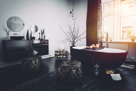 warm home: Original Oriental style black bathroom interior with a boat shaped tub, ornaments and burning candles lit by the glow from a large widow, 3d render