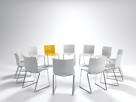 deliberation: Leadership concept with a single yellow chair in a circle of white ones arranged for a meeting over a neutral light grey background. 3d rendering.