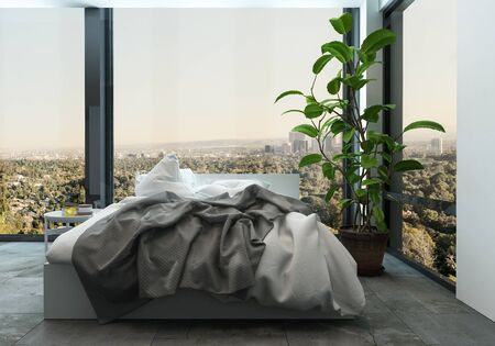 untidy: Messy unmade bed in a modern apartment with wrap around view windows overlooking a cityscape, 3d rendered corner view with large houseplant Stock Photo