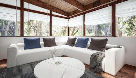 Moderne Monochrom Weissen Loft Interieur Mit Eingearbeitetem