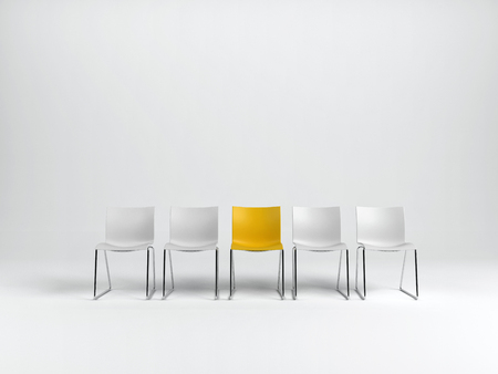 Row of empty plain white chairs with special yellow one in middle, isolated on white background with copy space. 3d rendering.