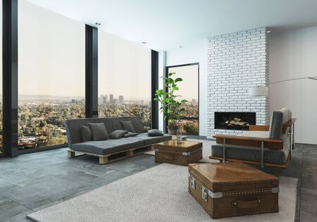 3d rendered interior of a large spacious living room with city view with modern designer furniture and leather travel trunk accents