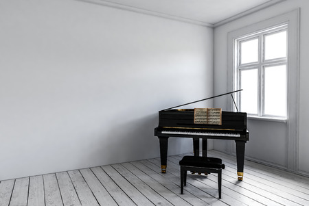 black piano: White room with black piano and chair standing near window. Minimalist interior design concept with copy space. 3d rendering.