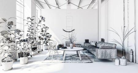 Luxuriöses modernes Wohnzimmer in Wohnung mit Zimmerpflanzen, Sofa und Tisch, weißes Thema Standard-Bild